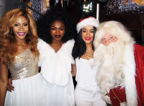 Santa with Miss Dynamix  X Factor Finalists 2013